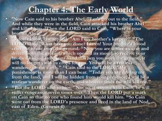 Chapter 4: The Early World