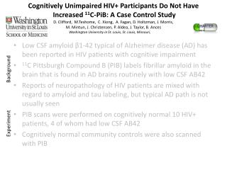 Cognitively Unimpaired HIV+ Participants Do Not Have  Increased  11 C-PiB: A Case Control Study