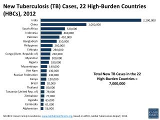 New Tuberculosis (TB) Cases, 22 High-Burden Countries (HBCs), 2012