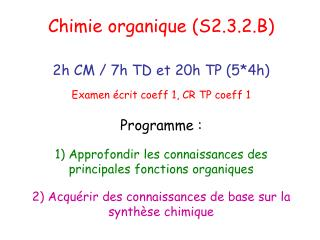 Chimie organique (S2.3.2.B)