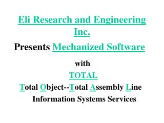 Eli Research and Engineering Inc.