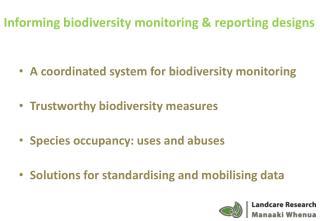 Informing biodiversity monitoring & reporting designs