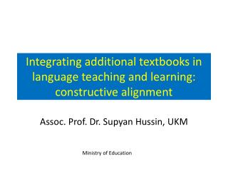 Integrating additional textbooks in language teaching and learning: constructive alignment