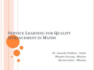 Service  Learning for Quality Enhancement in  Maths