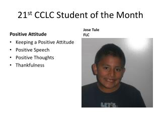 21 st  CCLC Student of the Month