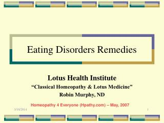 Eating Disorders Remedies