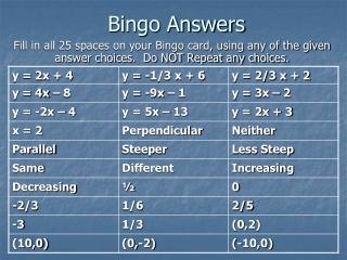 Bingo Answers