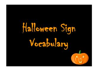Halloween Sign Vocabulary