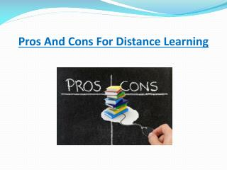 Pros And Cons For Distance Learning