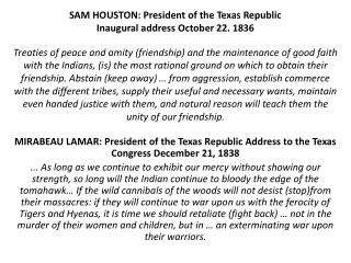 MIRABEAU LAMAR: President of the Texas Republic Address to the Texas Congress December 21, 1838