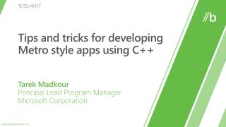 Tips and tricks for developing Metro style apps using C++