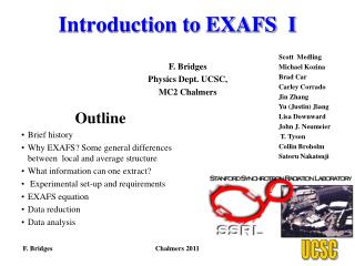 Introduction to EXAFS  I