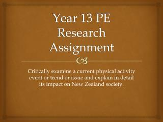 Year 13 PE Research Assignment