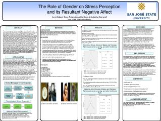 The Role of Gender on Stress Perception  and its Resultant Negative Affect