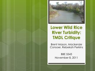 Lower Wild Rice River Turbidity: TMDL Critique