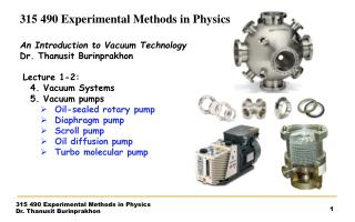 315  490 Experimental Methods in Physics An Introduction  to Vacuum  Technology