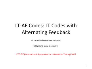 LT-AF  Codes: LT  Codes with Alternating Feedback