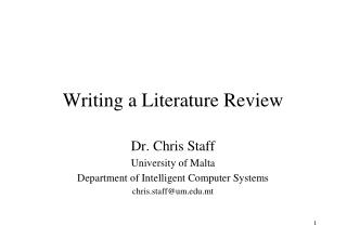 Writing a Literature Review