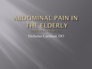 Abdominal pain in the elderly Tintinalli Chap. 73