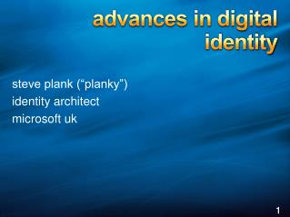 a dvances in digital  identity
