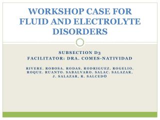 WORKSHOP CASE FOR FLUID AND ELECTROLYTE DISORDERS