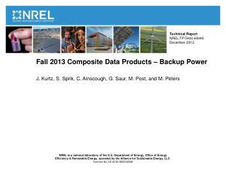 Fall  2013  Composite Data Products –  Backup Power