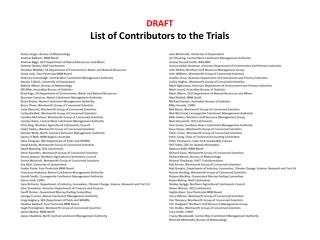 DRAFT List of Contributors to the Trials