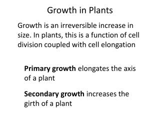 Growth in Plants