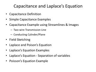Capacitance and Laplace's Equation