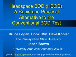Headspace BOD (HBOD): A Rapid and Practical Alternative to the Conventional BOD Test