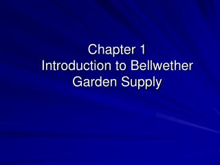 Chapter 1 Introduction to Bellwether Garden Supply