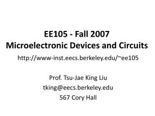 EE105 - Fall 2007 Microelectronic Devices and Circuits