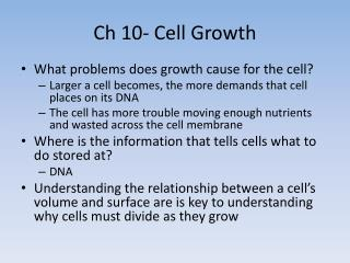 Ch 10- Cell Growth