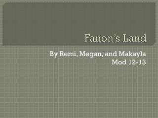 Fanon's Land