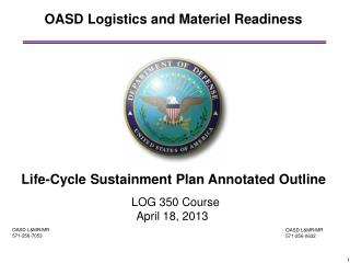 OASD Logistics and Materiel Readiness