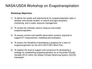 NASA/USDA Workshop on Evapotranspiration