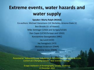 Extreme events, water hazards and water supply