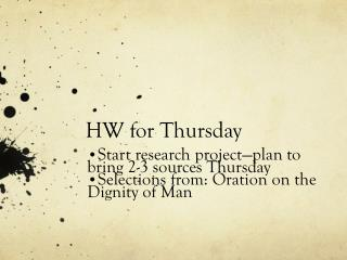 HW for Thursday