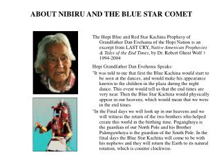 ABOUT NIBIRU AND THE BLUE STAR COMET