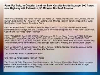 Farm For Sale, in Ontario, Land for Sale, Outside Inside