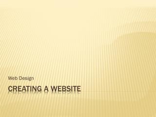 Creating a website