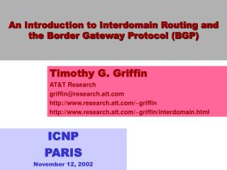An Introduction to Interdomain Routing and the Border Gateway Protocol (BGP)