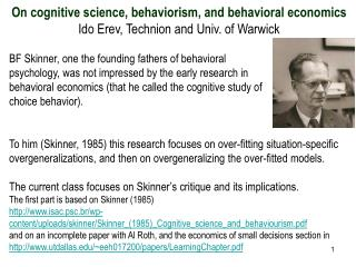 On cognitive science, behaviorism, and behavioral economics