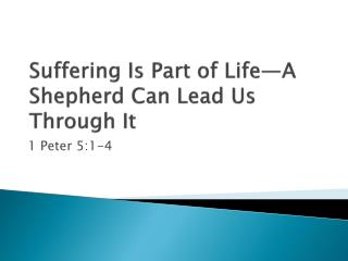 Suffering Is Part of Life—A  Shepherd Can Lead Us Through It