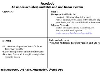 Acrobot An under-actuated, unstable and non linear system