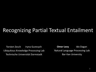 Recognizing Partial Textual Entailment