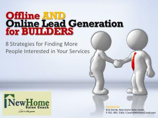 Offline  AND Online Lead Generation for BUILDERS