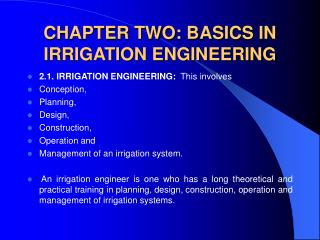 CHAPTER TWO: BASICS IN IRRIGATION ENGINEERING
