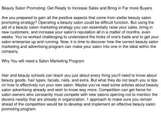 Beauty Salon Marketing