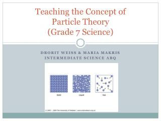Teaching the Concept of  Particle Theory  (Grade 7 Science)